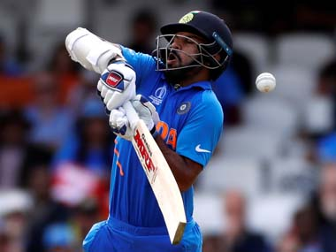 Shikhar Dhawan pictured whilst wearing a neck guard. Reuters