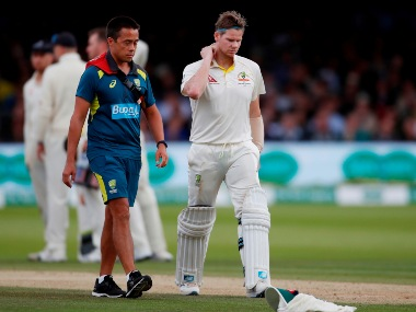Steve Smith was hit on the neck by Jofra Archer during the Lord's Test. Reuters