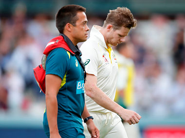 Smith had to leave the field after being hit on the neck due to a Jofra Archer bouncer. Reuters