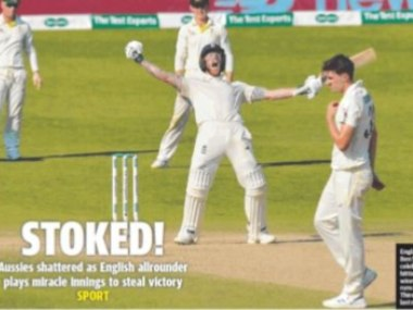 Ben Stokes celebrating England's win. Image courtesy: Courier Mail newspaper
