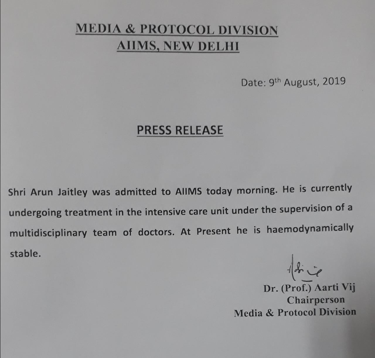 Arun Jaitley admitted to AIIMS in New Delhi hospital says former FMs blood pressure under manageable limits