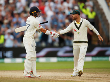 Cricket - Ashes 2019 - First Test - England v Australia - Edgbaston, Birmingham, Britain - August 2, 2019 England's Rory Burns with Australia's David Warner at the end of play Action Images via Reuters/Andrew Boyers - RC14D039C500