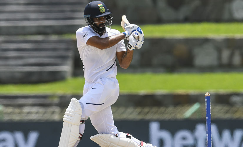 Hanuma Vihari of India hits 4 during day 4 of the 1st Test between West Indies and India at Vivian Richards Cricket Stadium in North Sound, Antigua and Barbuda, on August 25, 2019. (Photo by Randy Brooks / AFP)