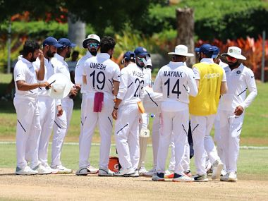 Indian cricket team during the warm-up match against West Indies A