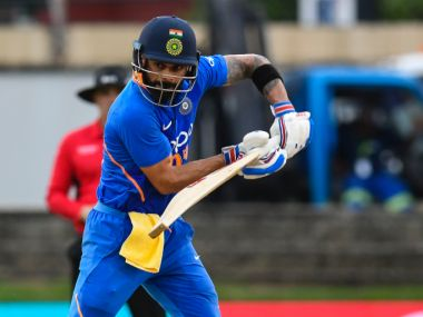 of India hits 4 during the 3rd ODI match between West Indies and India at Queens Park Oval, Port of Spain, Trinidad and Tobago, on August 14, 2019. (Photo by Randy Brooks / AFP)