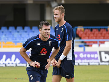 file image of James Anderson and Stuart Broad during a practice session. AFP