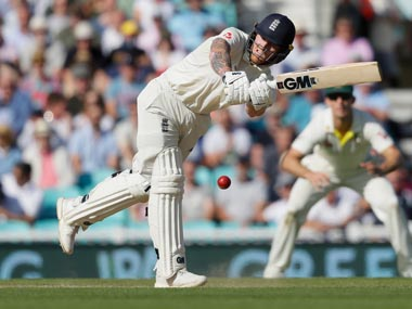 England's Ben Stokes plays a shot off the bowling of Australia's Josh Hazlewood during the third day of the fifth Ashes test match. AP