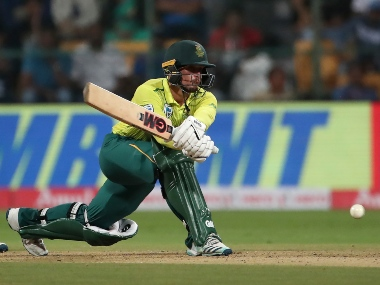 Quinton de Kock plays the reverse sweep. AP