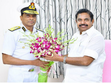 Indian Coast Guard chief Krishnaswamy Natarajan calls on Palaniswami briefs him about initiatives taken to strengthen Tamil Nadus maritime domain
