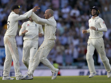 Jack Leach was the pick of the English bowlers in the second Australian innings with figures of 4/35. AP