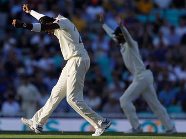 England's Jofra Archer celebrates taking the wicket of Australia's Peter Siddle during the second day of the fifth Ashes test match. AP