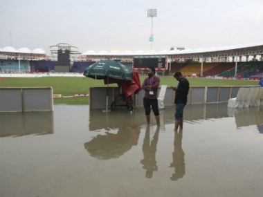 The National Stadium in Karachi was completely waterlogged, leading to the first ODI getting called off. AP