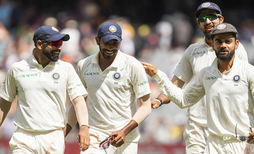 India's pace bowling trio, from left to right, Mohammed Shami, Jasprit Bumrah, Ishant Sharma along with India captain Virat Kohli. AP