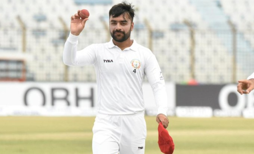 Youngest ever captain to win a Test, Rashid Khan, took 11 wickets in the match and even scored a vital half-century with the bat. Image courtesy: Twitter @ICC