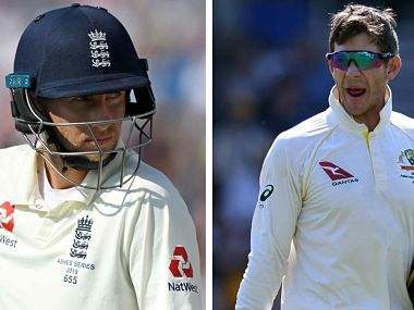 File images of Joe Root and Tim Paine. AFP