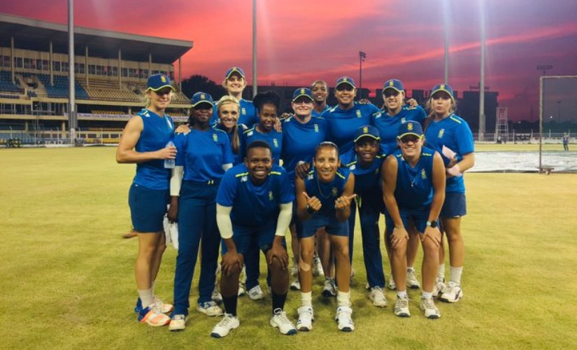 The South African team poses for a photo during practice. Image courtesy: Twitter @officialCSA