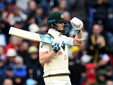 Australia's Steve Smith celebrates his half century in the fourth Ashes Test against England. AFP