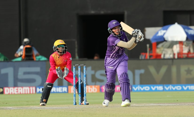 Shefali Verma of Velocity hits a six during match 2 of the Women's T20 Challenge, 2019 between the Trailblazers and Velocity held at the Sawai Mansingh Stadium in Jaipur on the 8th May 2019 Photo by: Prashant Bhoot /SPORTZPICS for BCCI
