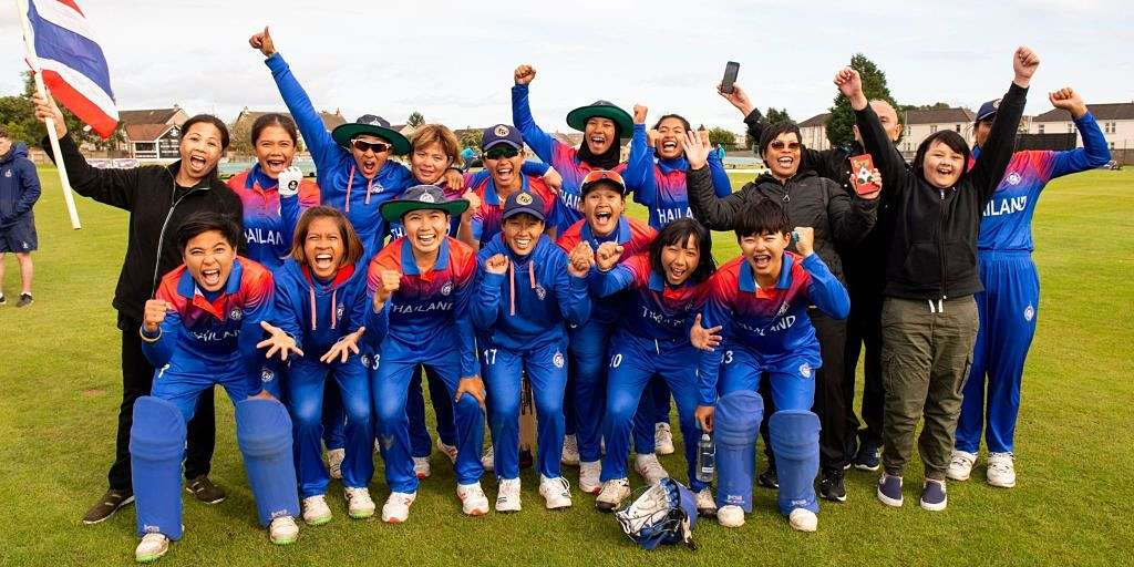 Thailand players celebrate after qualifying for the Women's T20 World Cup. ICC