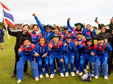 Thailand women's team celebrate after qualifying for Women's T20 World Cup. ICC
