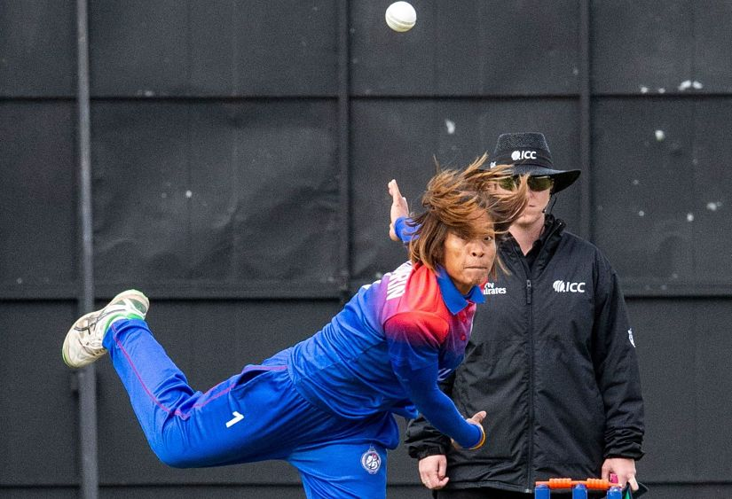 Sornnarin Tippoch bowls during the T20 World Cup qualifiers against Papua New Guinea. ICC
