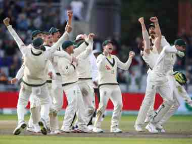 Cricket - Ashes 2019 - Fourth Test - England v Australia - Emirates Old Trafford, Manchester, Britain - September 8, 2019 Australia's celebrate the wicket of England's Craig Overton to win the match and retain the Ashes Action Images via Reuters/Carl Recine - RC13C6ED7810
