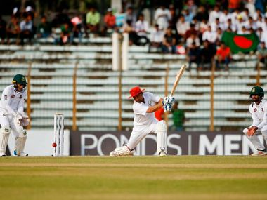 Afghanistan reached 237-8 at stumps on the third day. Image courtesy: Twitter @ICC
