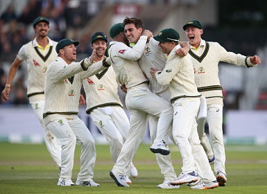 Cricket - Ashes 2019 - Fourth Test - England v Australia - Emirates Old Trafford, Manchester, Britain - September 7, 2019 Australia's Pat Cummins celebrates taking the wicket of England's Joe Root with team mates Action Images via Reuters/Carl Recine - RC145DC814E0