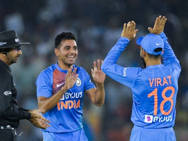 Deepak Chahar celebrates the wicket of Reeza Hendricks during the second T20I against South Africa. AFP