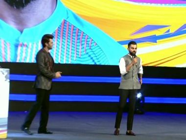Virat Kohli at the DDCA Annual Awards where a stand was inaugurated in his name. Image: Twitter/ANI