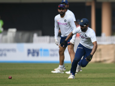 Indian cricketers Ajinkaya Rahane and captain Virat Kohli take part in a practice session at the Jharkhand State Cricket Association (JSCA) Stadium in Ranchi. AFP