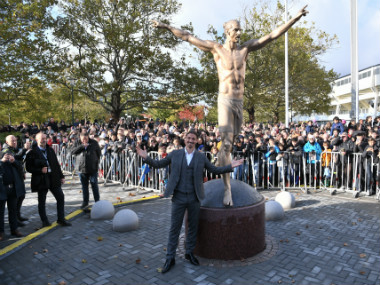 Former Sweden international Zlatan Ibrahimovic unveils larger than life statue in hometown Malmo