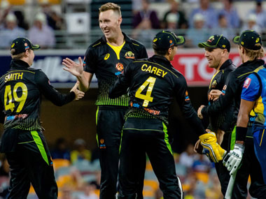 Billy Stanlake of Australia celebrates with teammates after taking the wicket of Dasun Shanaka. AFP