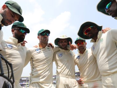 South Africa captain Faf du Plessis with teammates during second Test with India. Sportzpics