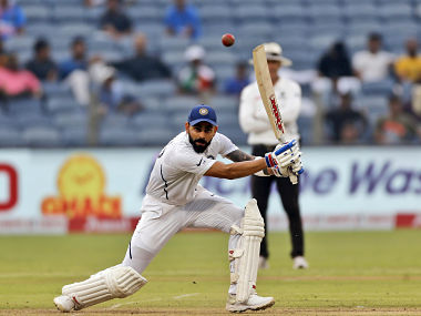 Virat Kohli in action against South Africa on Day 2 of the Pune Test. AP