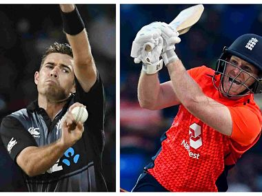 File images of New Zealand captain Tim Southee and England captain Eoin Morgan. AFP