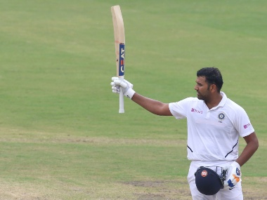 Rohit Sharma of India celebrates his Hundred runs during day one of the third test match between India and South Africa held at the JSCA International Stadium Complex, Ranchi India on the 19th October 2019 Photo by Deepak Malik / SPORTZPICS for BCCI