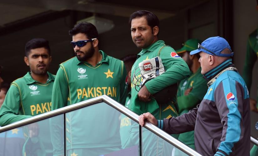 Sarfraz Ahmed with fellow Pakistan team members. AFP File photo