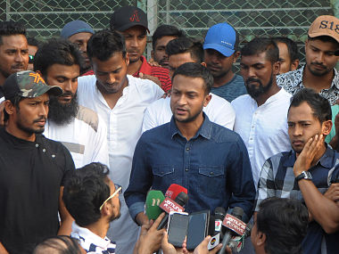 Shakib Al Hasan and other senior players were present at Wednesday's press conference. AFP
