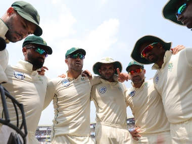Faf du Plessis (c) of South Africa with teammates during day four of the first test match between India and South Africa held at the ACA-VDCA Stadium, Visakhapatnam, India on the 5th October 2019. SPORTZPICS for BCCI