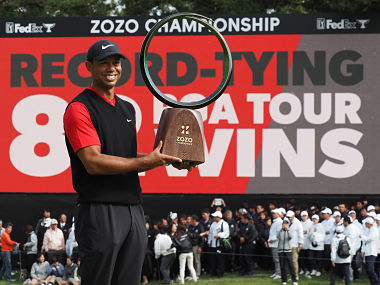 Zozo Championship Tiger Woods makes golfing history by equalling Sam Sneads record of 82 US PGA Tour titles
