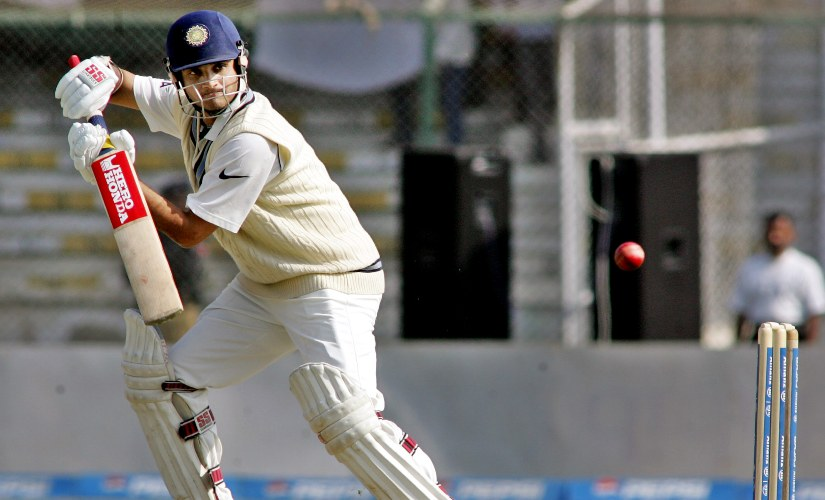 Sourav Ganguly plays a shot in the third Test against Pakistan at Bengaluru in 2006. AFP