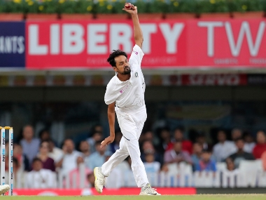 Shahbaz Nadeem bowling on the third day of the third Test against South Africa in Ranchi. AP