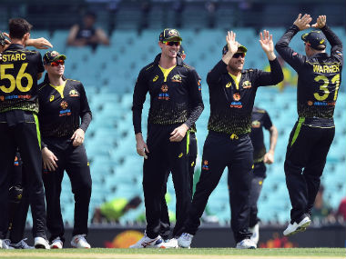 Australia's players react after the dismissal of Pakistan's Fakhar Zaman during the Twenty20I between Australia and Pakistan at the Sydney Cricket Ground on 3 November, 2019. AFP