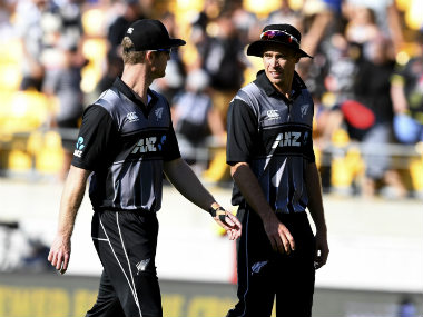 New Zealand's Jimmy Neesham and captain Tim Southee leave the field after their 21 run win over England in the second T20I. AP