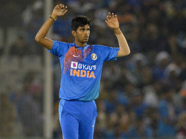 India's Washington Sundar reacts during the second T20I of a three-match series between India and Bangladesh. AFP