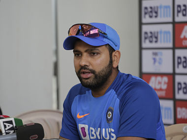 India captain Rohit Sharma speaks during a press conference ahead of second T20I against Bangladesh in Rajkot. AP