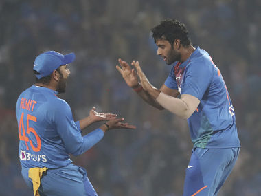 India's Shivam Dube celebrates a wicket with Rohit Sharma during their third T20I against Bangladesh. AP