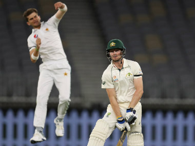 Australia A's Cameron Bancroft reacts after getting dismissed by Shaheen Afridi for 49 in the practice match. Image credit: Twitter/@cricketcomau