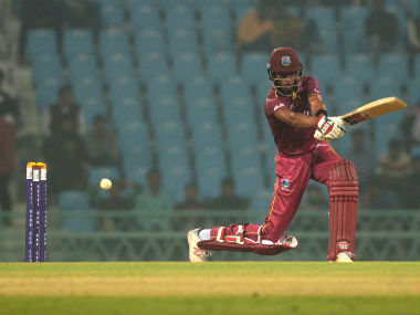 West Indies' Roston Chase plays a shot during their first ODI against Afghanistan at the Ekana Cricket Stadium in Lucknow. AFP